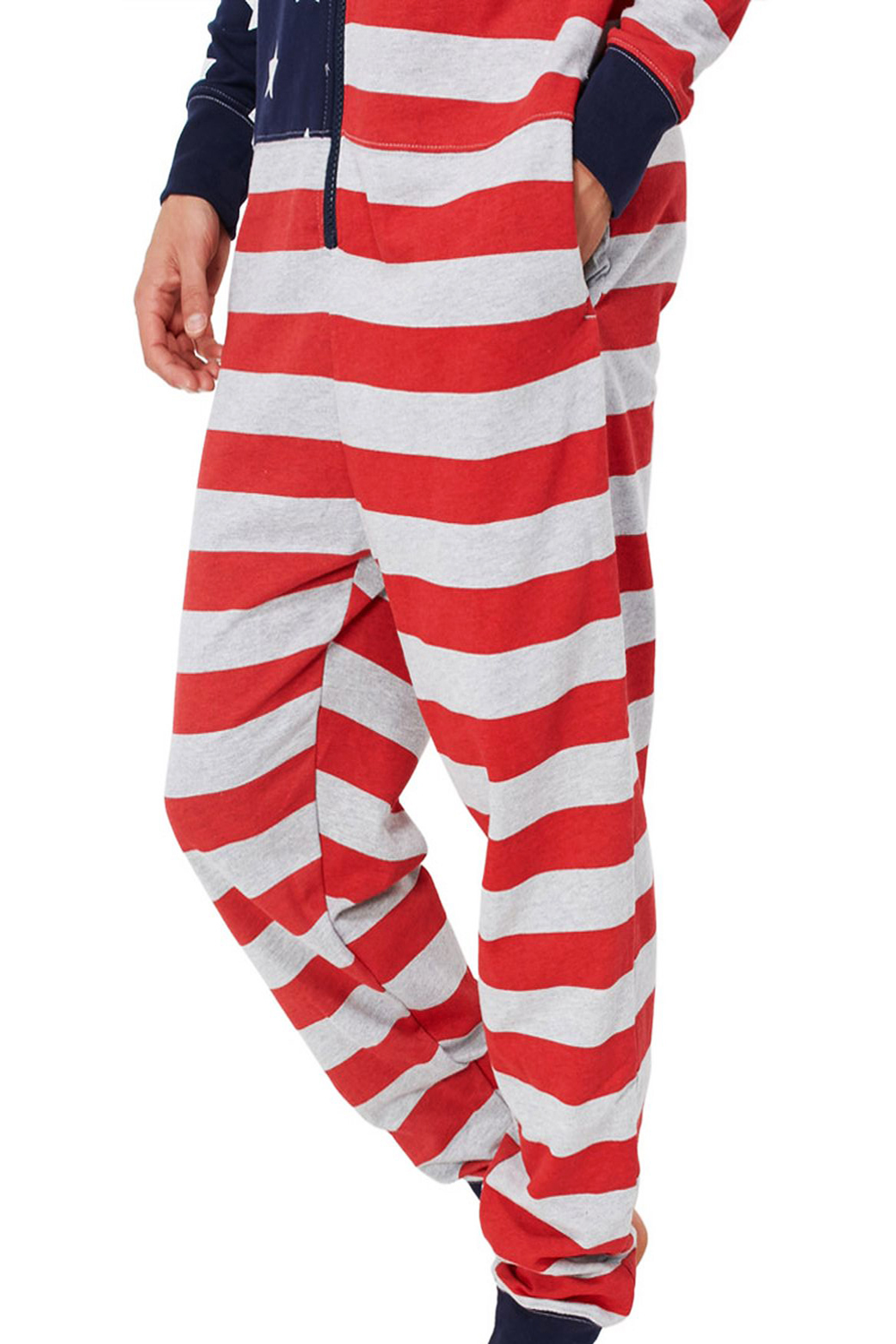 Tokyo-Laundry-Adults-All-In-One-American-USA-Flag-Print-Hooded-Lounge-Jumpsuit thumbnail 4