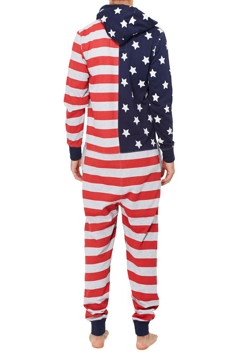 Tokyo-Laundry-Adults-All-In-One-American-USA-Flag-Print-Hooded-Lounge-Jumpsuit thumbnail 5