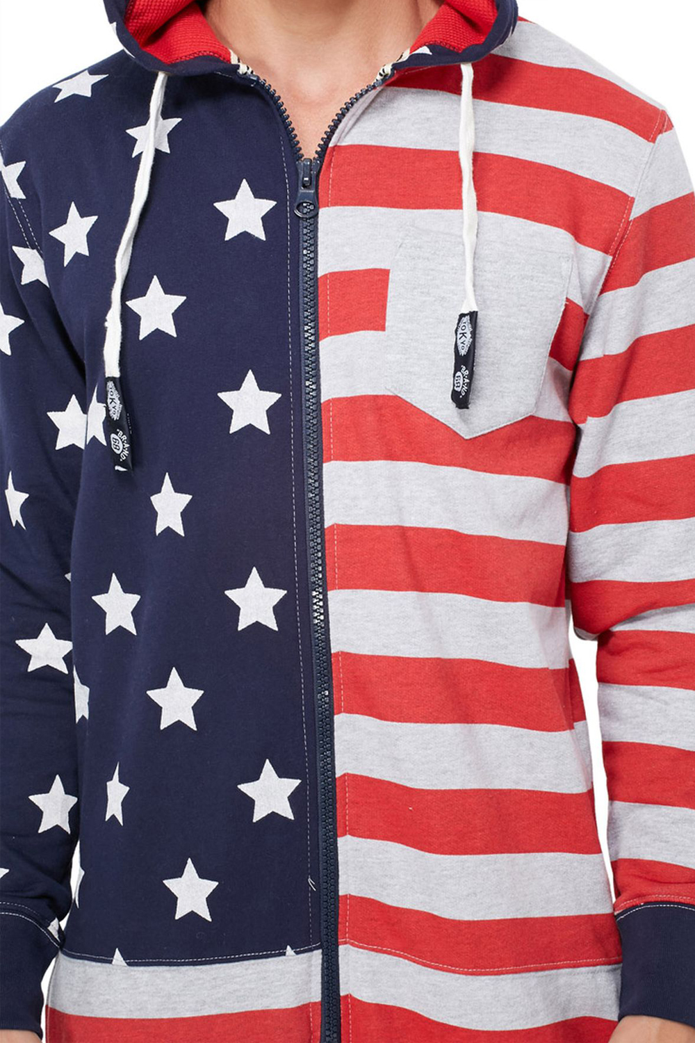 Tokyo-Laundry-Adults-All-In-One-American-USA-Flag-Print-Hooded-Lounge-Jumpsuit thumbnail 3