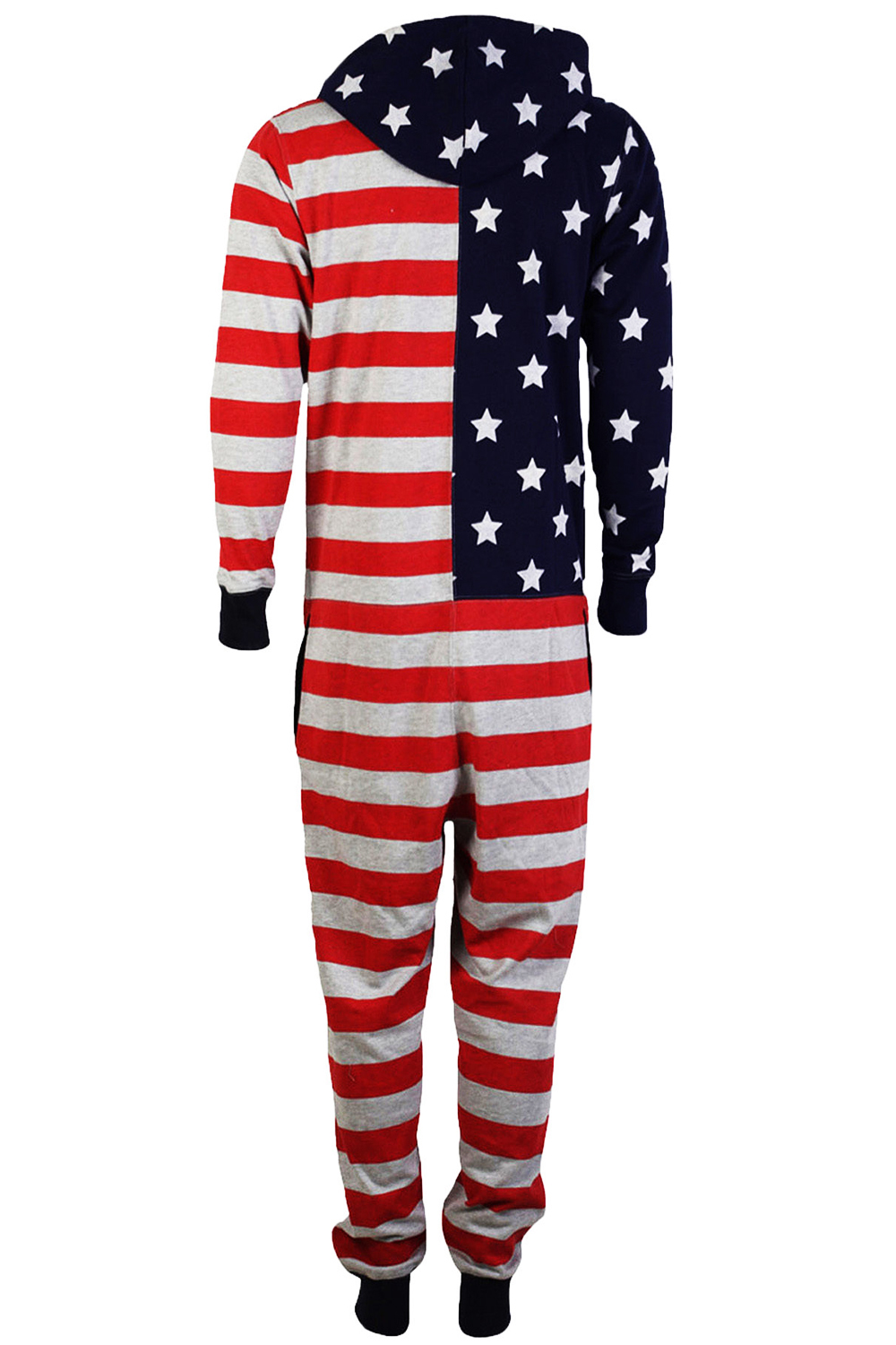 Tokyo-Laundry-Adults-All-In-One-American-USA-Flag-Print-Hooded-Lounge-Jumpsuit thumbnail 7