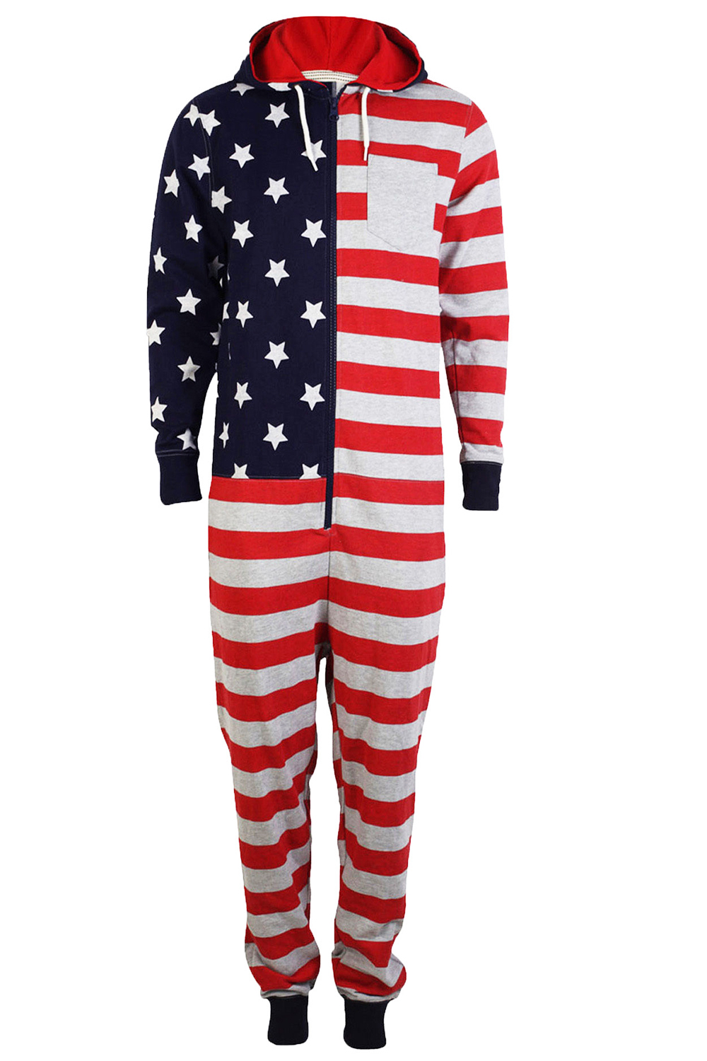 Tokyo-Laundry-Adults-All-In-One-American-USA-Flag-Print-Hooded-Lounge-Jumpsuit thumbnail 6