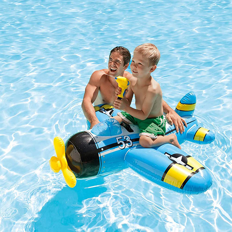 Intex-Water-Gun-Plane-Ride-On-Kids-Swimming-Pool-Beach-Inflatable-Fun-Summer-Toy thumbnail 6