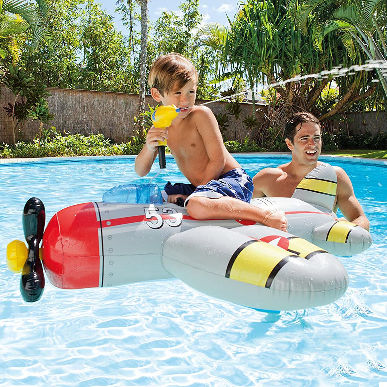 Intex-Water-Gun-Plane-Ride-On-Kids-Swimming-Pool-Beach-Inflatable-Fun-Summer-Toy thumbnail 4