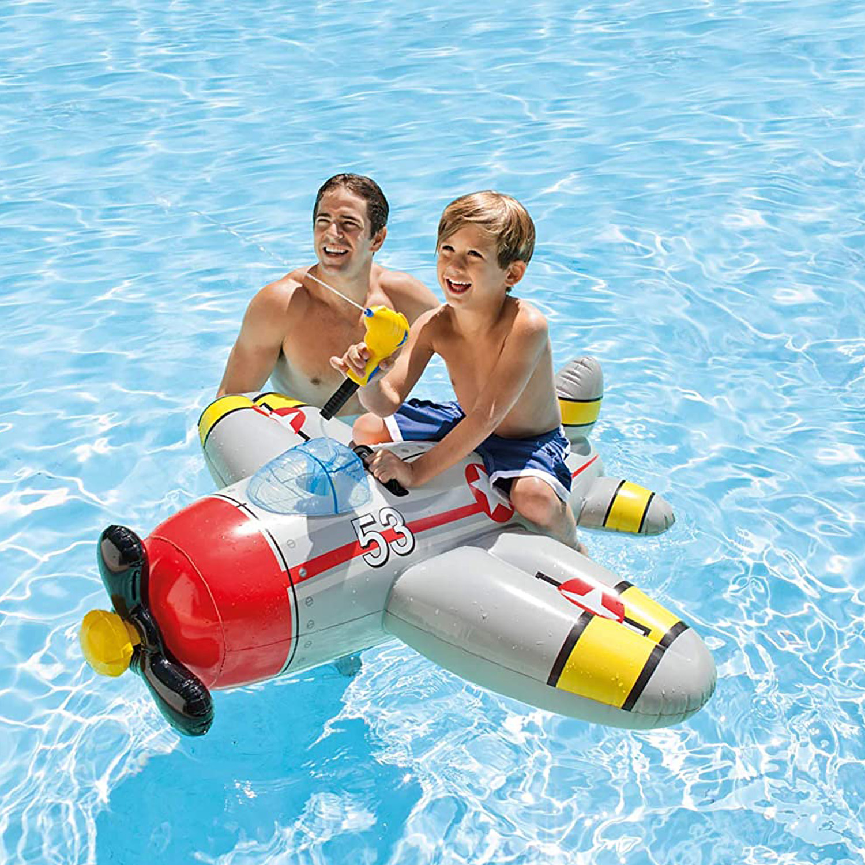 Intex-Water-Gun-Plane-Ride-On-Kids-Swimming-Pool-Beach-Inflatable-Fun-Summer-Toy thumbnail 3