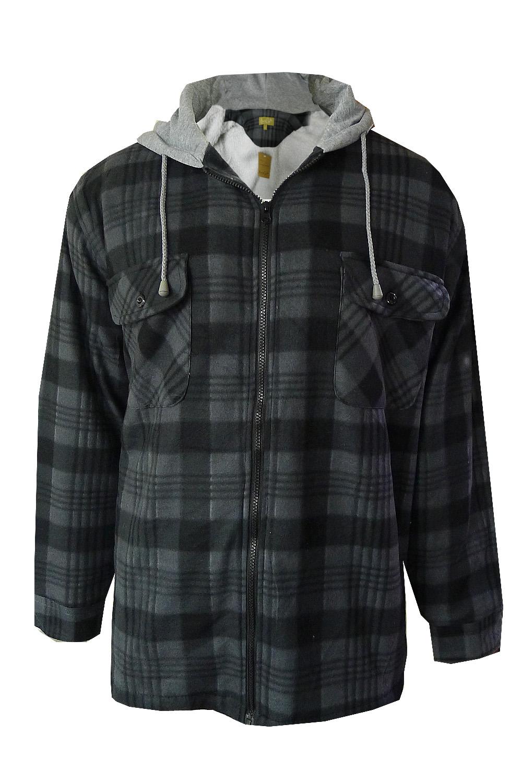 mens check lumberjack jacket fleece lined flannel hooded plaid worker shirt ebay. Black Bedroom Furniture Sets. Home Design Ideas