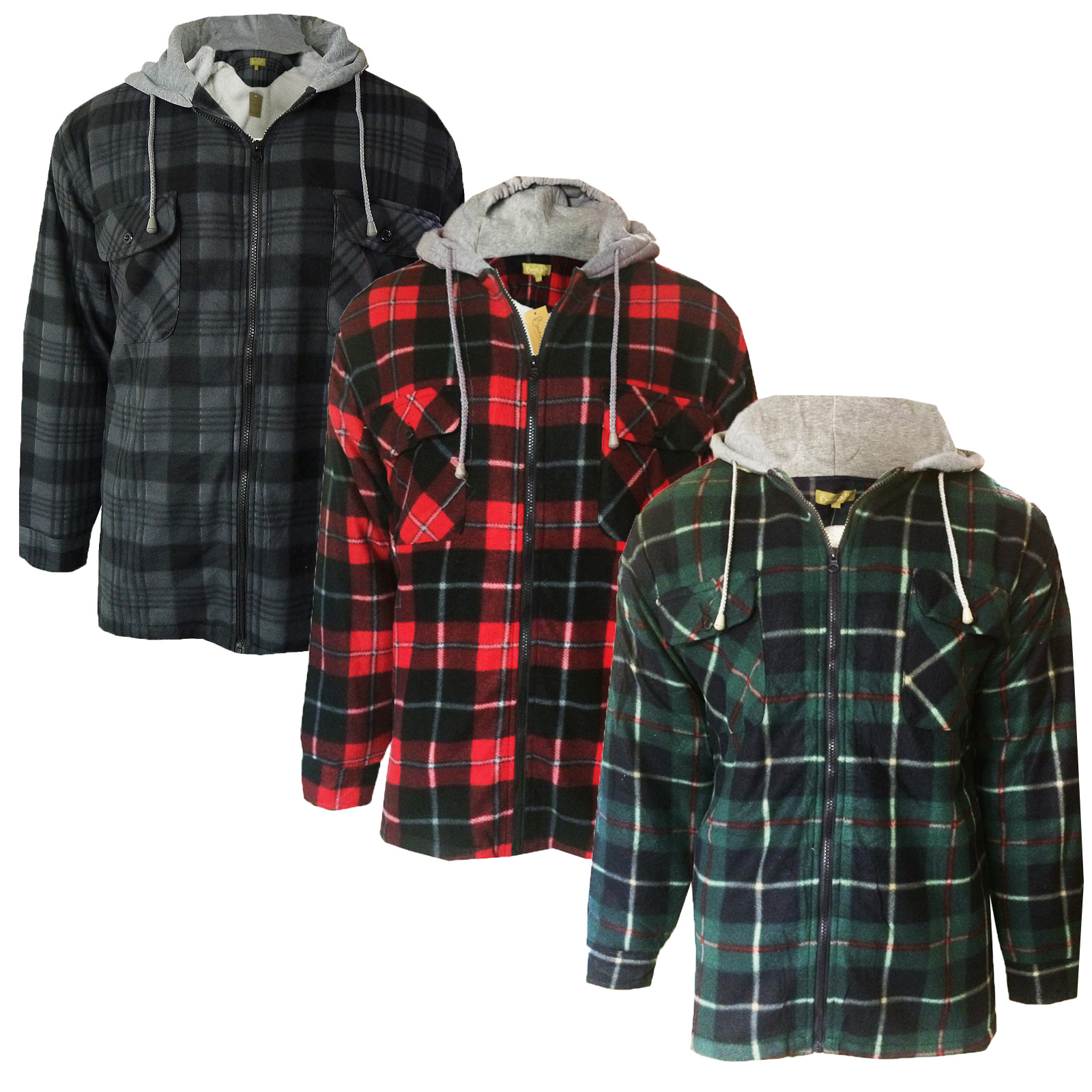Bruno Galli Mens Check Lumberjack Fleece Lined Jersey Hooded Plaid ...