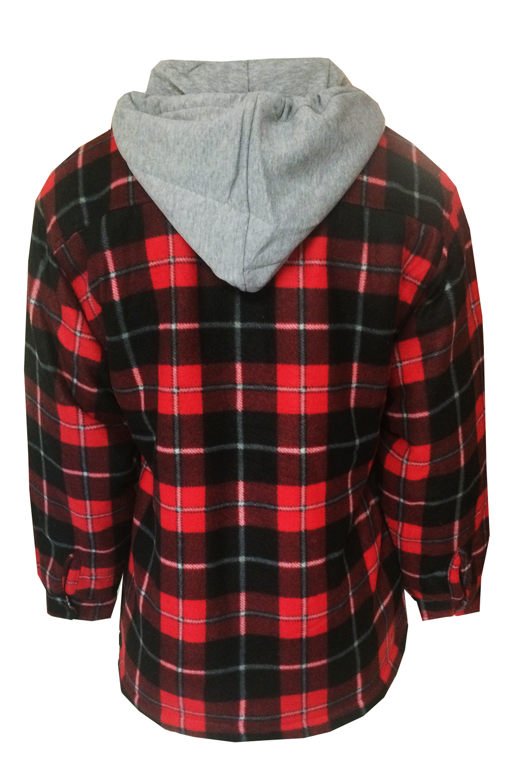 Mens Check Lumberjack Jacket Fleece Lined Flannel Hooded ...