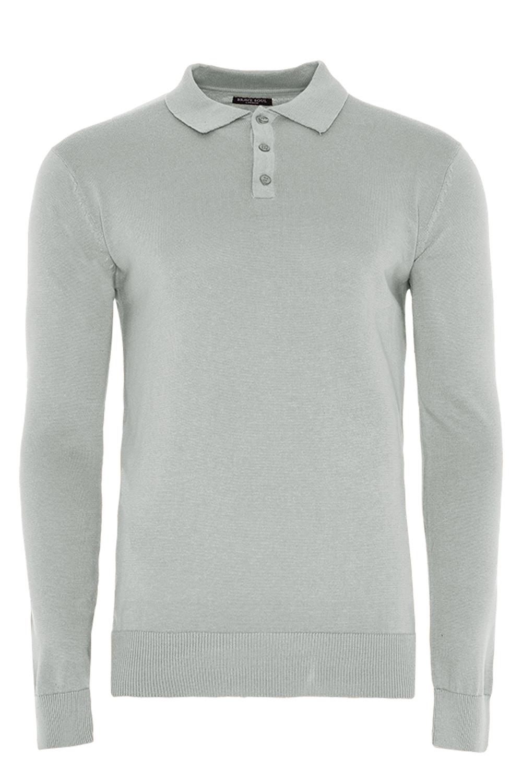 Brave-Soul-Abbottonatura-Maglietta-Polo-uomo-manica-lunga-cotone-pique-con-colletto-in-maglia