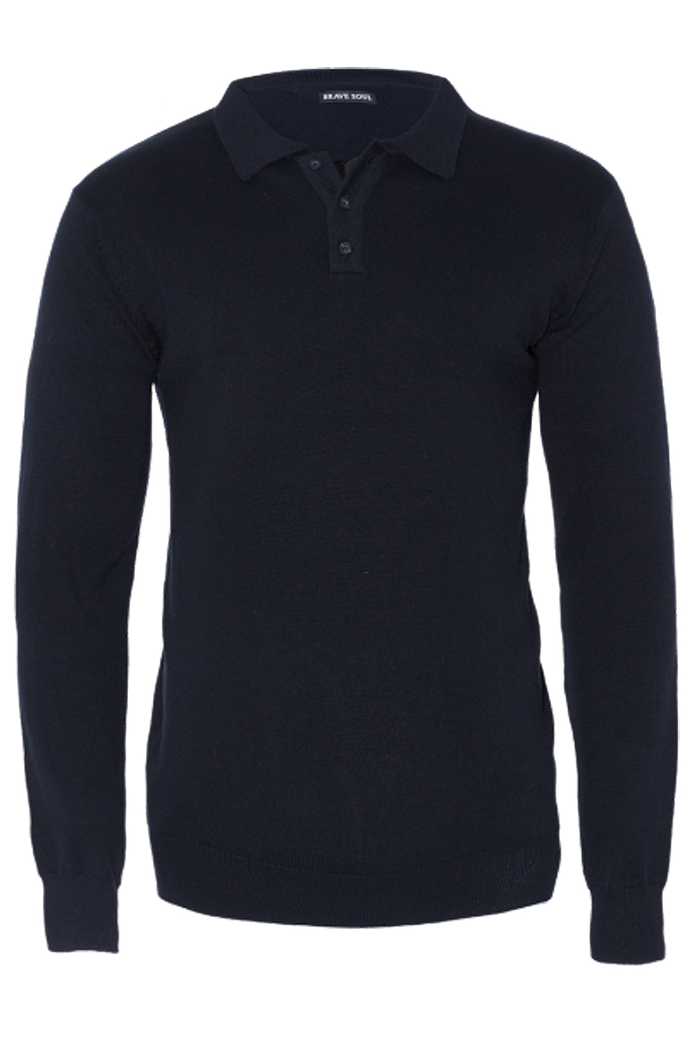 Brave-Soul-Placket-Mens-Polo-Shirt-Long-Sleeve-Cotton-Pique-Knit-Collared-Jumper thumbnail 4