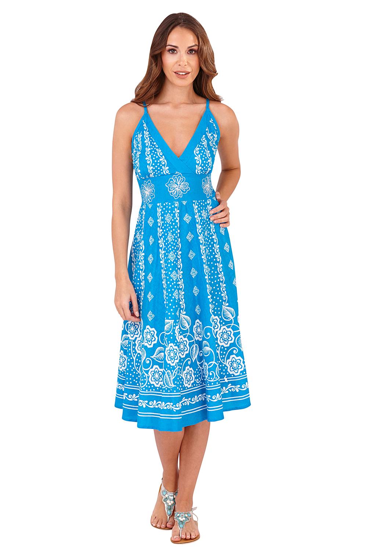 Pistachio-Womens-Cross-Over-V-Neck-Midi-Dress-Floral-Summer-Evening-Attire thumbnail 11