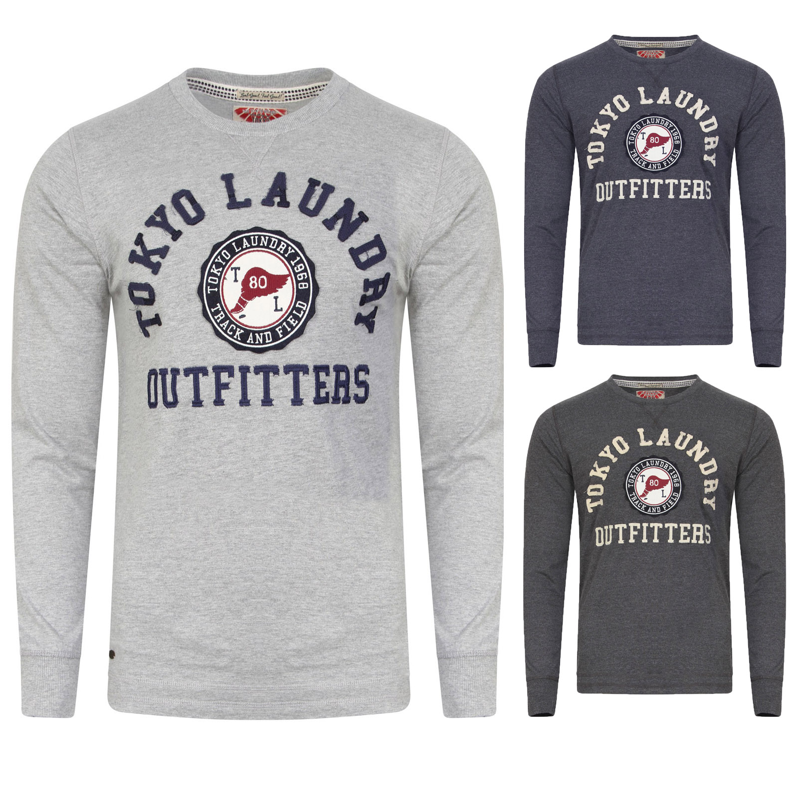 Mens Tokyo Laundry Long Sleeve Top T-shirt Fashion Crew Neck Casual Cotton Hazen