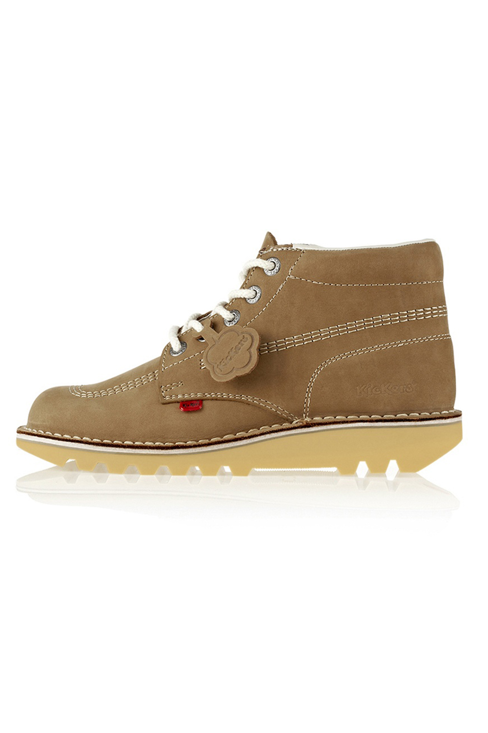 Kickers-Kick-Hi-M-Core-Homme-Bottines-a-Lacets-Decontractees-En-Cuir-Marron-Clair-Chaussures miniature 3