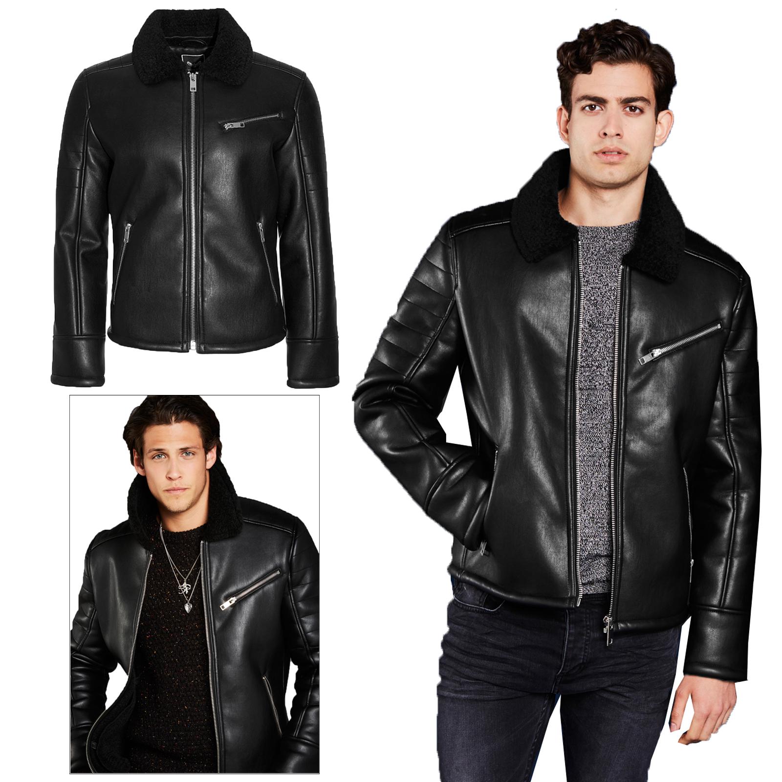 77bbb71f6 Details about Mens Brave Soul Hume V2 Faux Leather Biker Jacket Sherpa  Collar PU Aviator Coat
