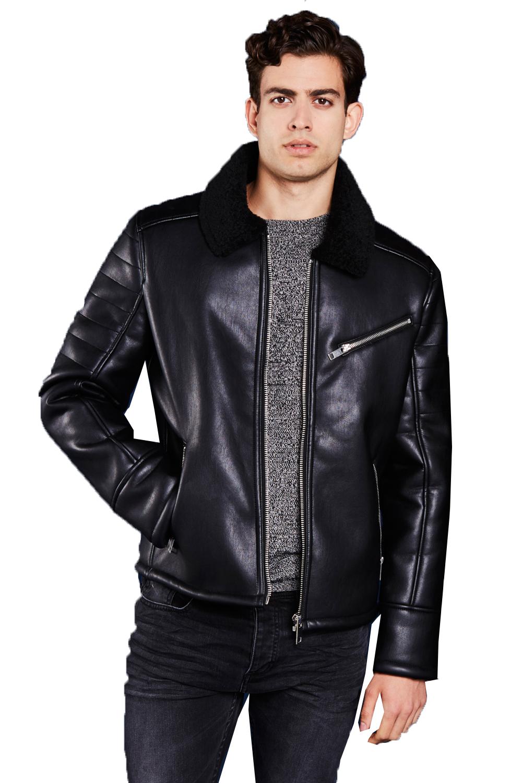 Brave Soul Hume V2 Mens Faux Leather Designer Aviator ...