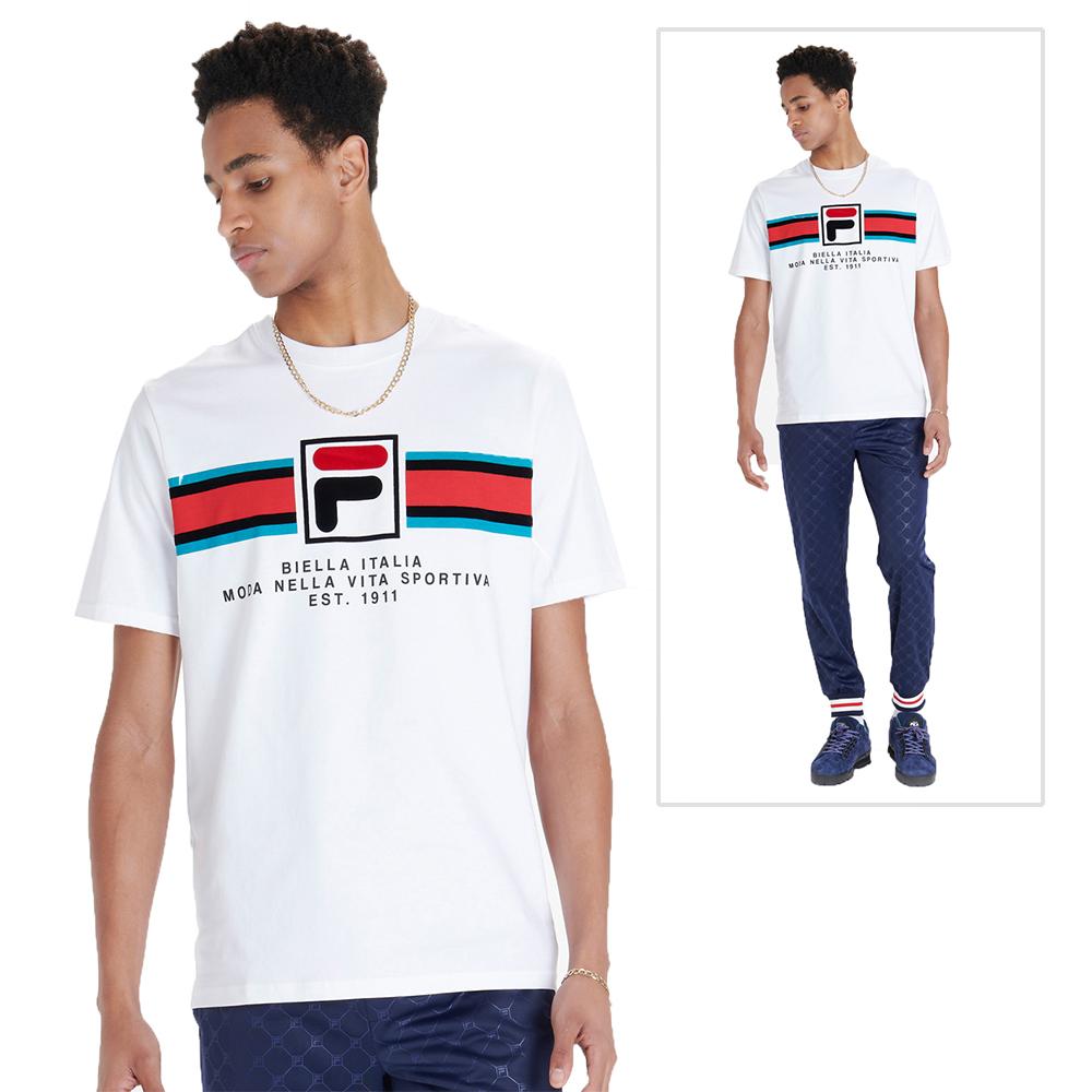 Detalles de Hombre Fila Mercedes F Caja Camiseta Gráfica Iconos Vintage 80s Retro Cuello
