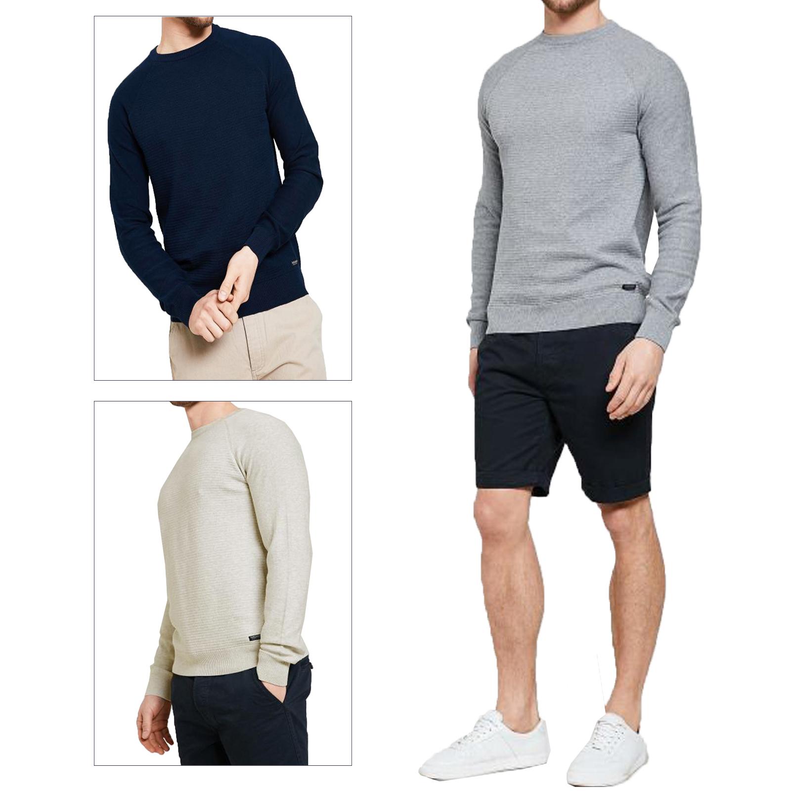 Threadbare Mens Donald Jumper Designer Long Sleeved Knitted Cotton Sweater