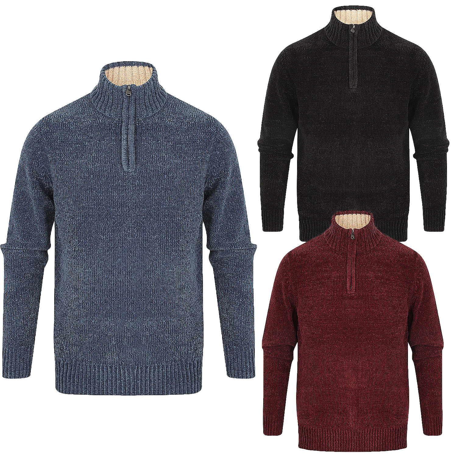 Details about Kensington Mens Bolsover 14 Zip Neck Jumper Chunky Knitted Chenille Sweater