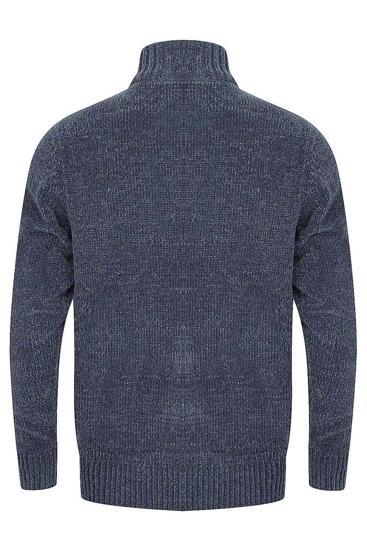 Kensington-Mens-Bolsover-1-4-Zip-Neck-Jumper-Chunky-Knitted-Chenille-Sweater thumbnail 5