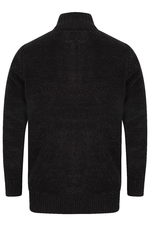 Kensington-Mens-Bolsover-1-4-Zip-Neck-Jumper-Chunky-Knitted-Chenille-Sweater thumbnail 3