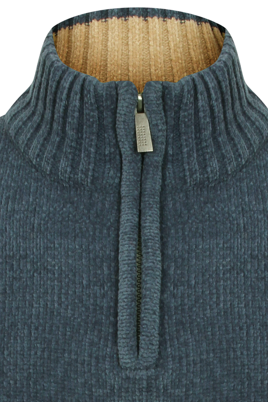Kensington-Mens-Bolsover-1-4-Zip-Neck-Jumper-Chunky-Knitted-Chenille-Sweater thumbnail 6