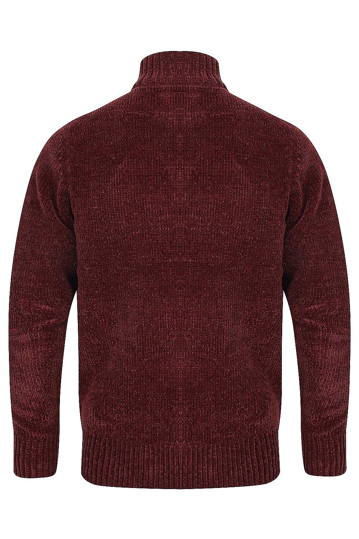 Kensington-Mens-Bolsover-1-4-Zip-Neck-Jumper-Chunky-Knitted-Chenille-Sweater thumbnail 8