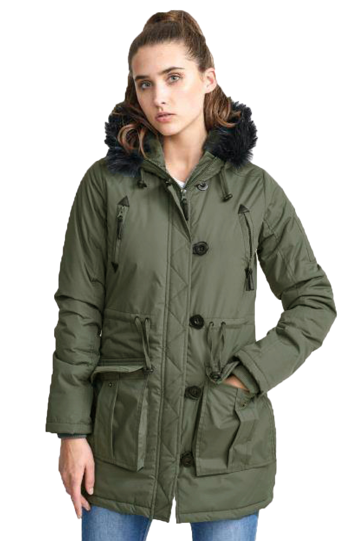 48ad3ca4f1b6e Brave Soul Military Womens Parka Jacket Designer Faux Fur Trim Hood ...
