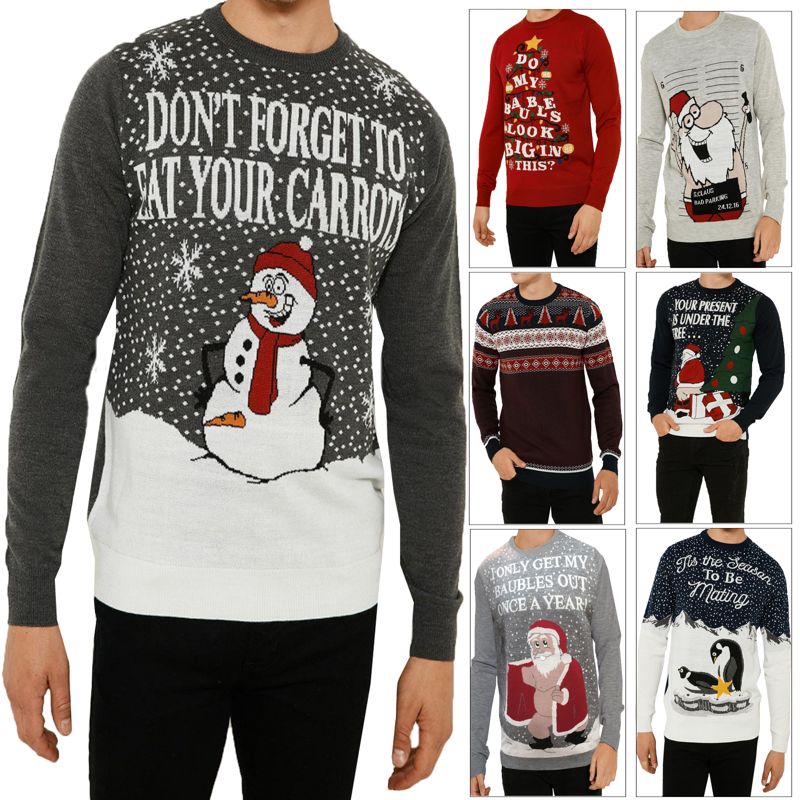 0f749e13a Details about Threadbare Adults Festive Funny Novelty Knitted Crew Neck Christmas  Jumpers