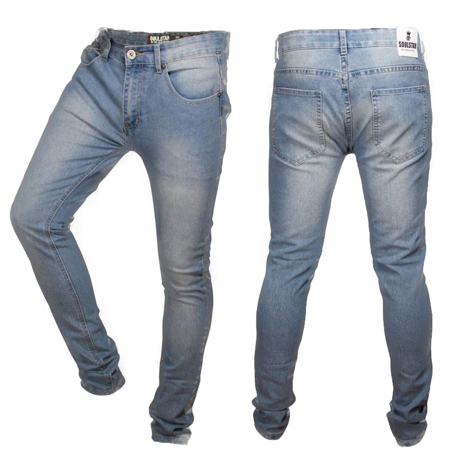 Soulstar deo homme skinny nouveau multi ripped stretch coupe slim denim pantalon
