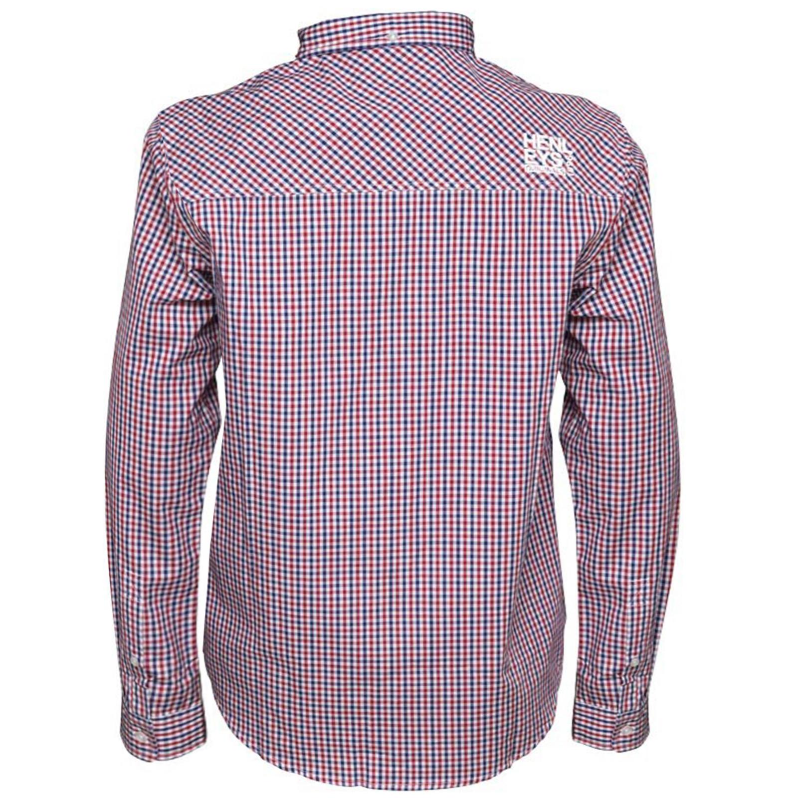 Henleys-homme-designer-classique-oxford-plain-ou-vichy-carreaux-manches-longues-chemises miniature 5