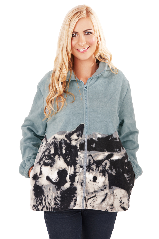 Mens Womens Animal Printed Fleece Jacket New Zip Up High