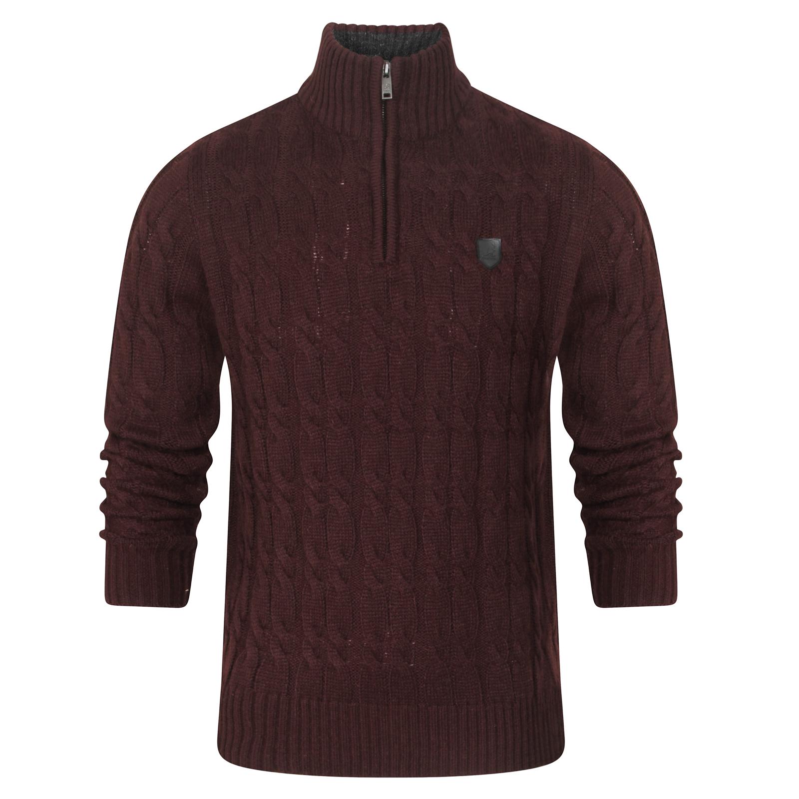 Kangol-Taras-Mens-Designer-Sweater-Zip-Up-Funnel-Neck-Pullover-Cable-Knit-Jumper