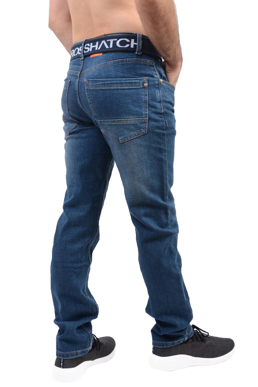 Crosshatch Mens Julyen Slim Fit Blue Denim 5 Pocket Classic Jeans With Free Belt