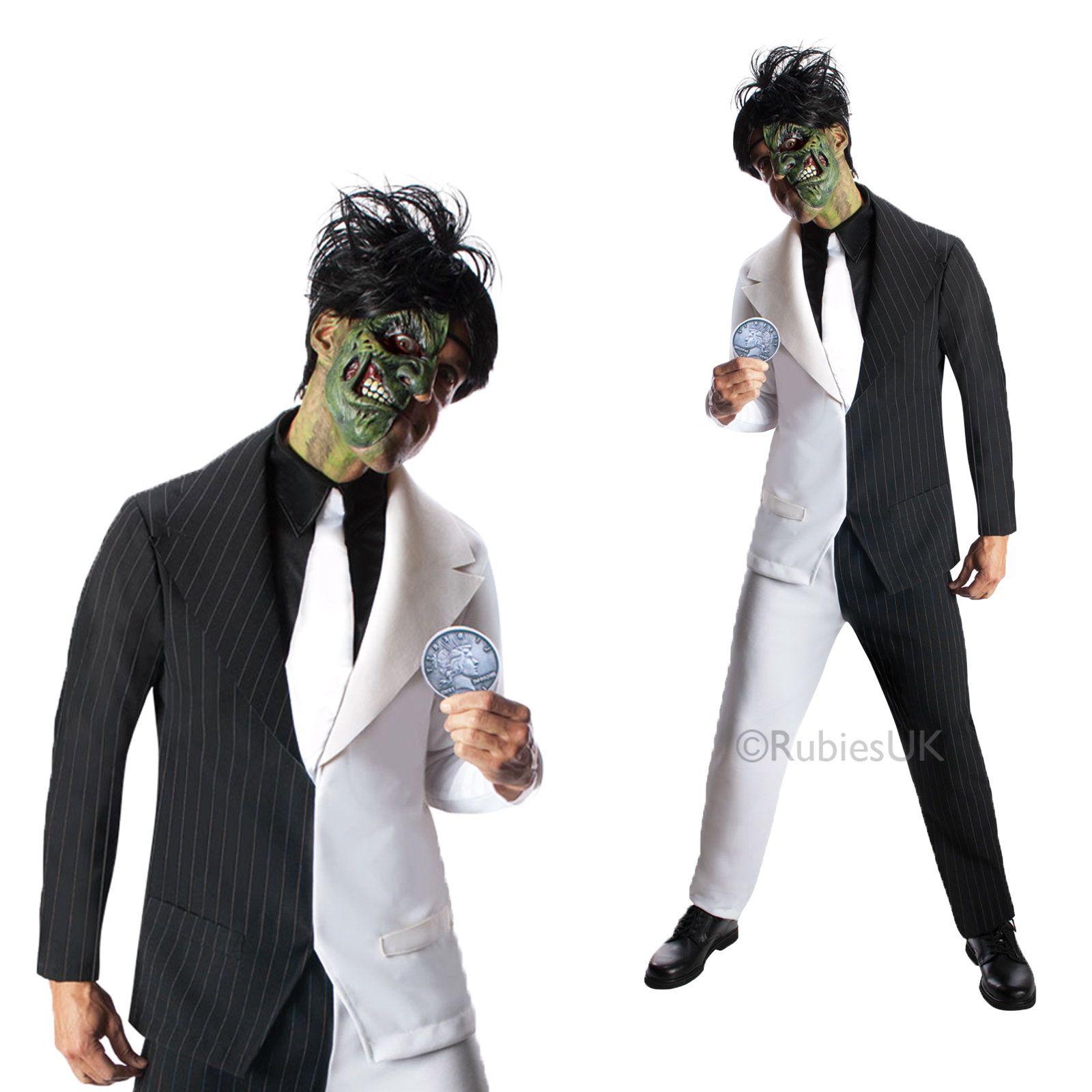 herren zwei gesicht suit batman b sewicht havey dent erwachsene halloween kost m ebay. Black Bedroom Furniture Sets. Home Design Ideas