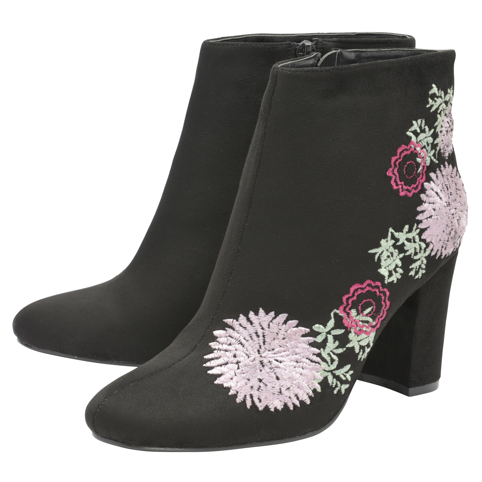 Dolcis Floral Felicity Damenschuhe Ankle Stiefel Faux Suede Floral Dolcis EmbroideROT Block Heel Schuhe afb509