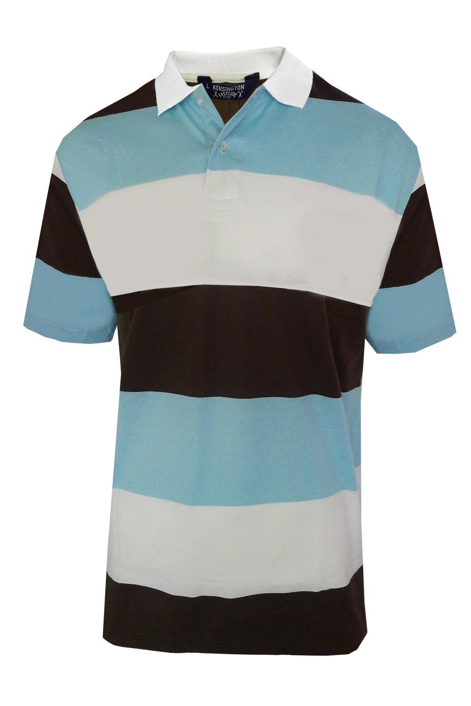 Kensington-Eastside-Da-Uomo-Polo-A-Righe-A-Contrasto-Manica-Corta-T-Shirt-Maglietta-Top