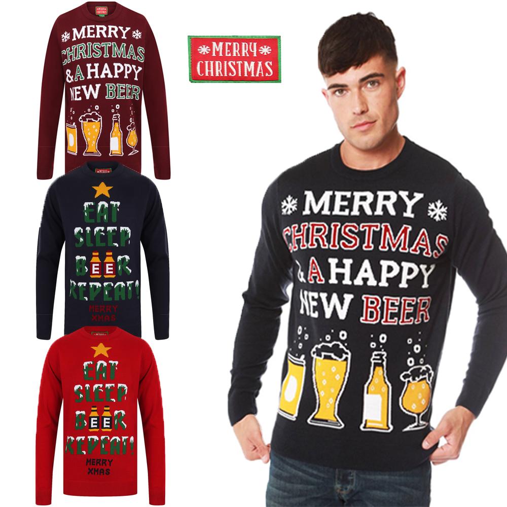 Mens Christmas Novelty Jumper Funny Thin Xmas Sweater Top Crew Neck New