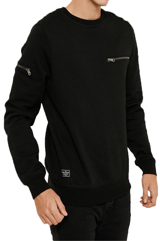 Threadbare-Mens-Chapel-Sweater-Designer-Zip-Detail-Long-Sleeve-Pullover-Jumper thumbnail 3