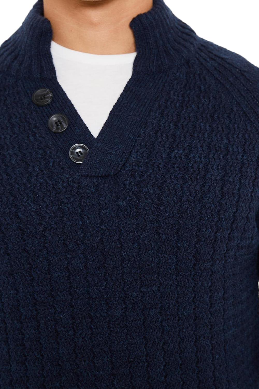 Logoro-Da-Uomo-Maglione-Collo-Alto-Kenneth-filato-lavorato-a-maglia-a-costine-Pullover-Maglione miniatura 4