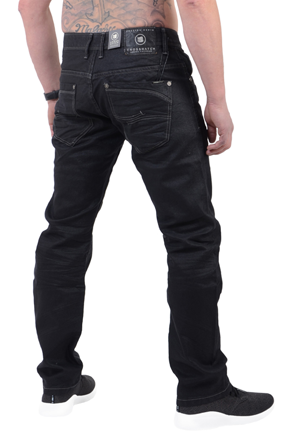 Crosshatch-Mens-Menzo-Jeans-Designer-Straight-Cut-Slim-Stretch-Denim-Trousers thumbnail 3
