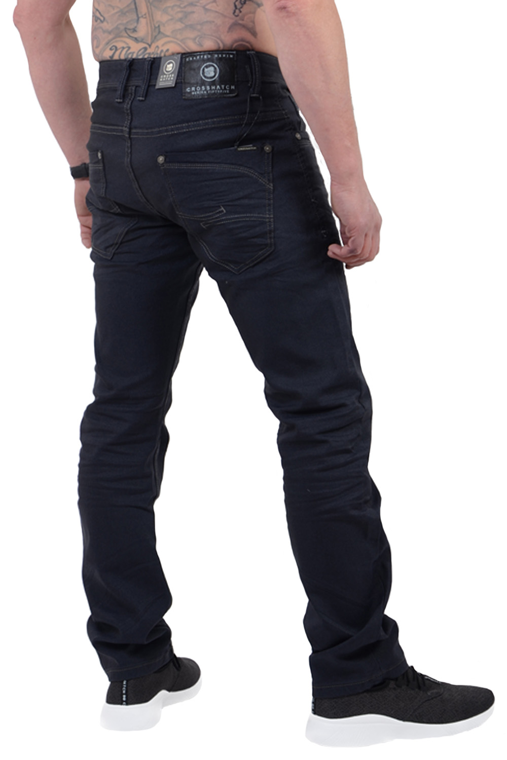 Crosshatch-Mens-Menzo-Jeans-Designer-Straight-Cut-Slim-Stretch-Denim-Trousers thumbnail 5