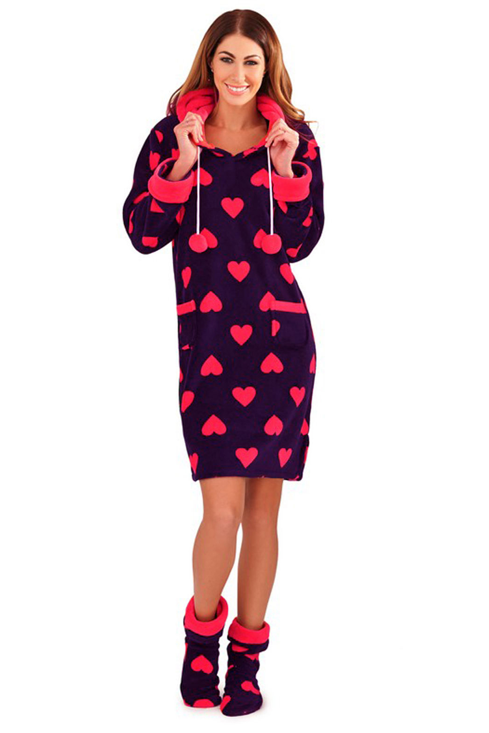Loungeable Womens Heart Print Robes Or Fleece Nightdress Hooded ...