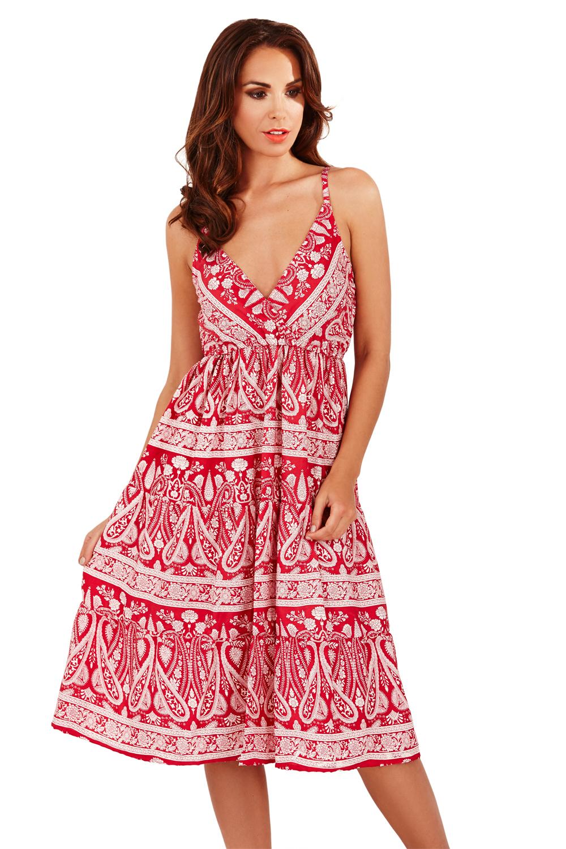 Pistachio-Womens-Paisley-Stappy-Midi-New-Summer-Ladies-Crossover-V-Neck-Dress thumbnail 3