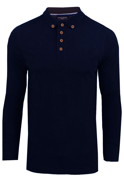 Brave Soul Mens Lincoln Designer Long Sleeve Polo Shirt