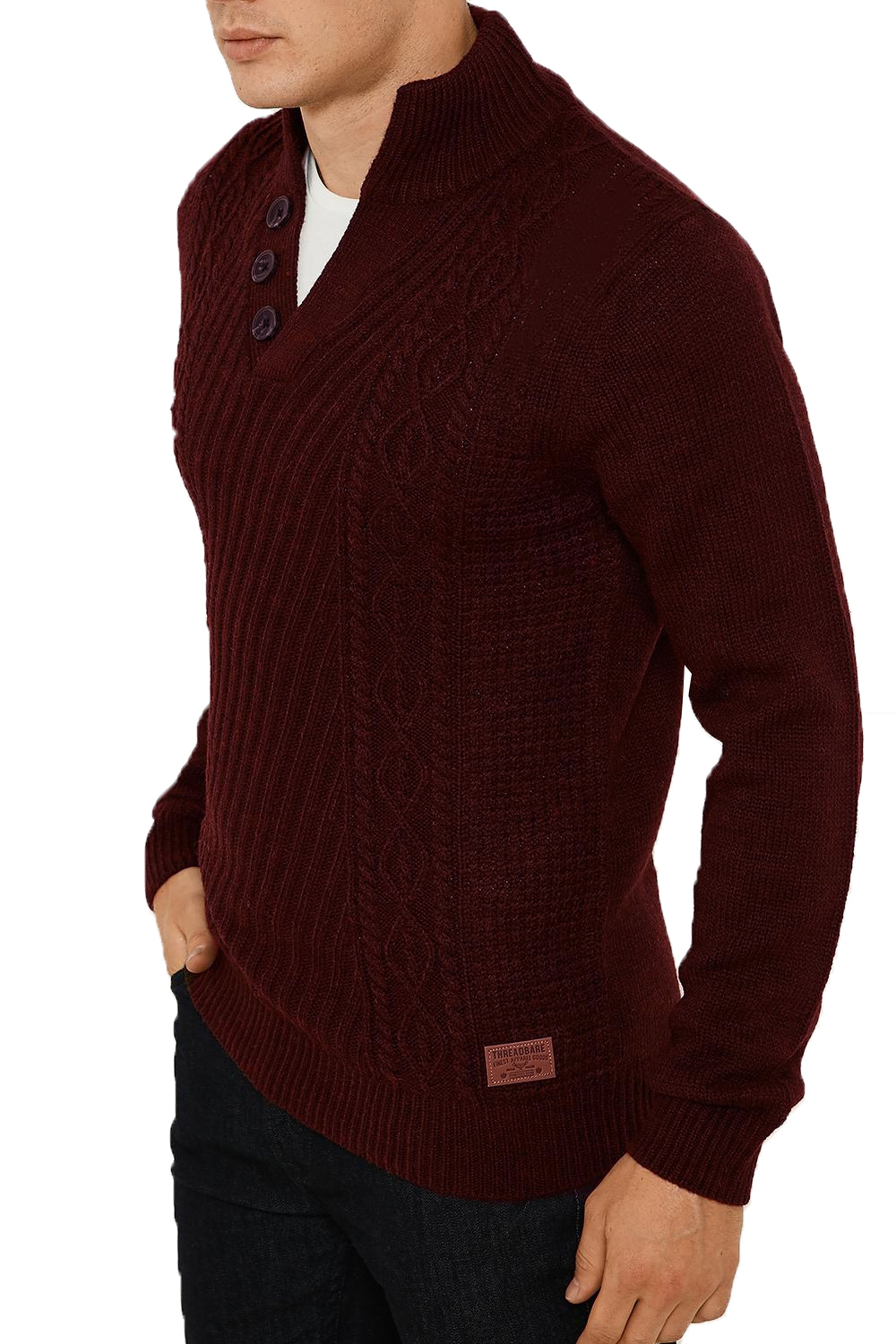 Threadbare-Wray-Mens-Top-Cable-Knited-Designer-Luxurious-Wool-Mix-Raglan-Jumpers thumbnail 7
