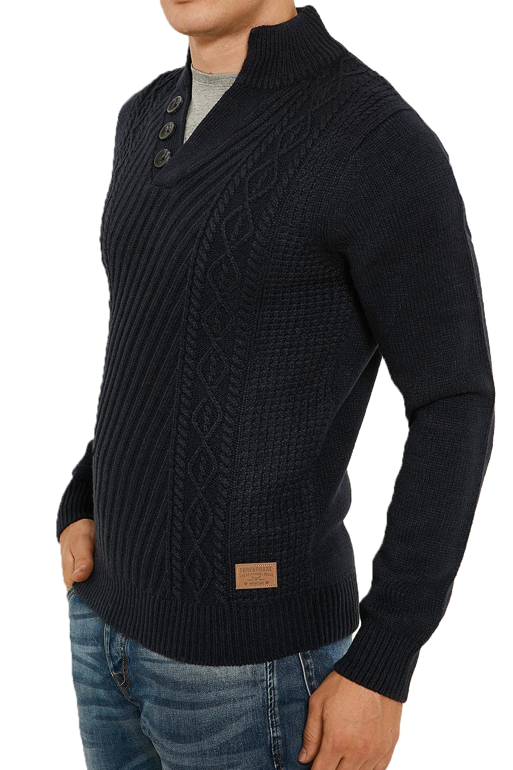 Threadbare-Wray-Mens-Top-Cable-Knited-Designer-Luxurious-Wool-Mix-Raglan-Jumpers thumbnail 10