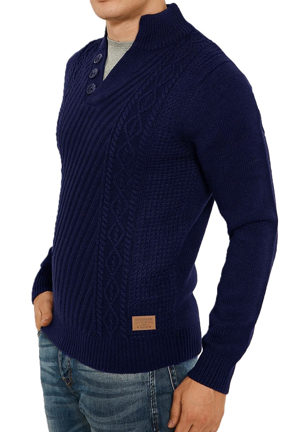 Threadbare-Wray-Mens-Top-Cable-Knited-Designer-Luxurious-Wool-Mix-Raglan-Jumpers thumbnail 15