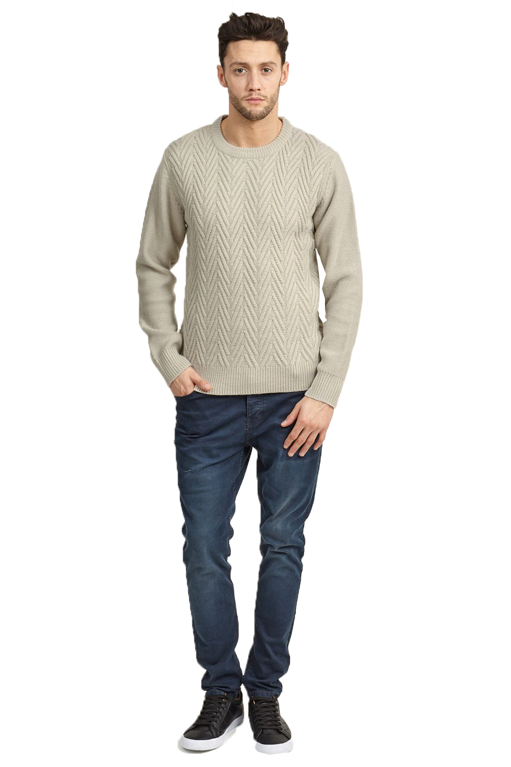 Brave Soul Mens Origins Designer Chevron Knit Sweater Crew ...