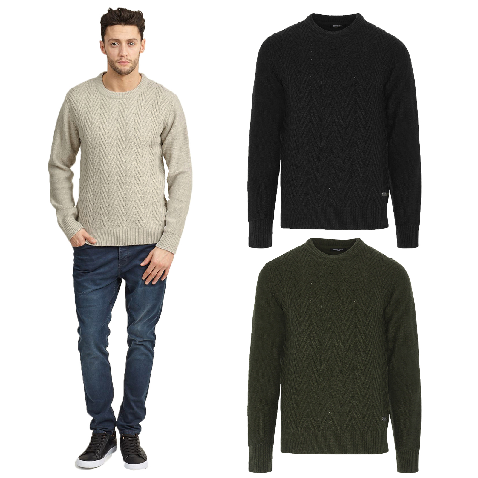 Mens Knit Design Crew Neck Pullover Knitted Jumper By Brave Soul
