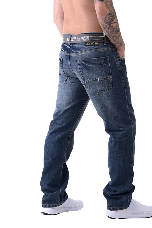 Crosshatch-Wak-Designer-Mens-Denim-Jeans-Straight-Leg-Trousers-With-Webbed-Belt