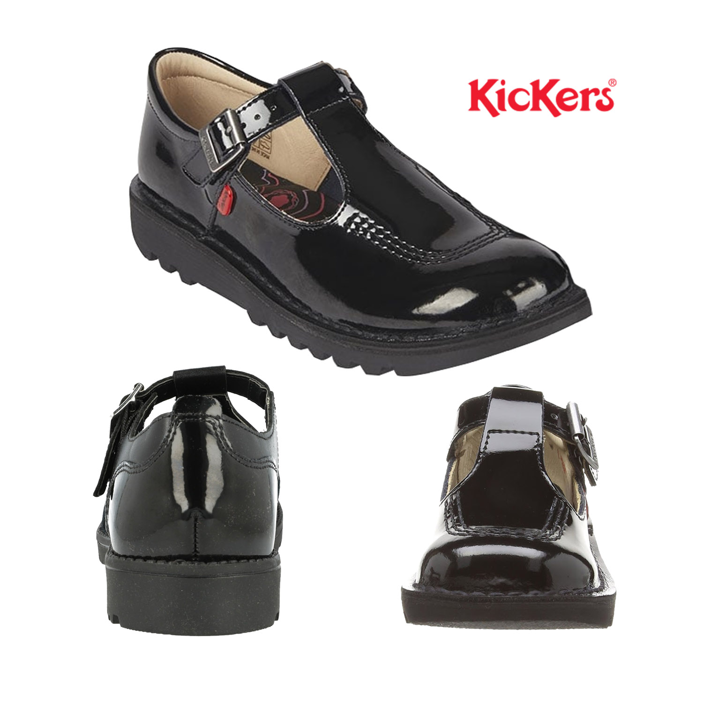 Kickers Teen Girls Black Patent Leather